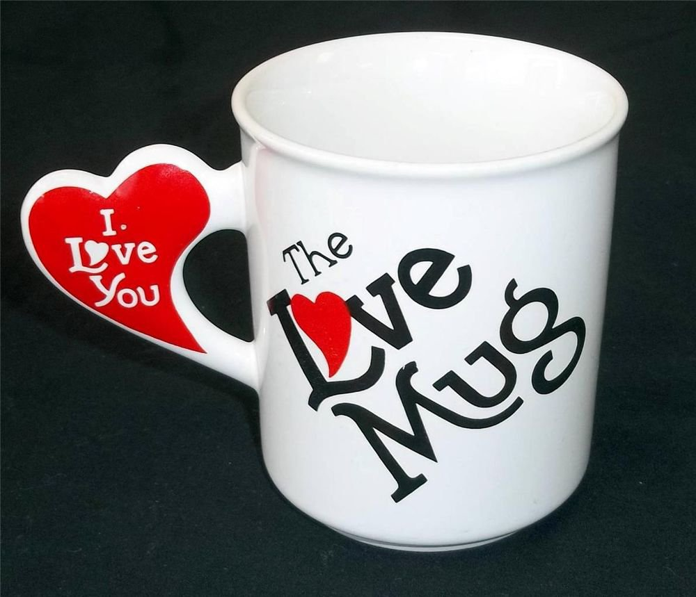 The Love Mug Off-white Small Coffee Cup Red Heart Handle Willoway Sales