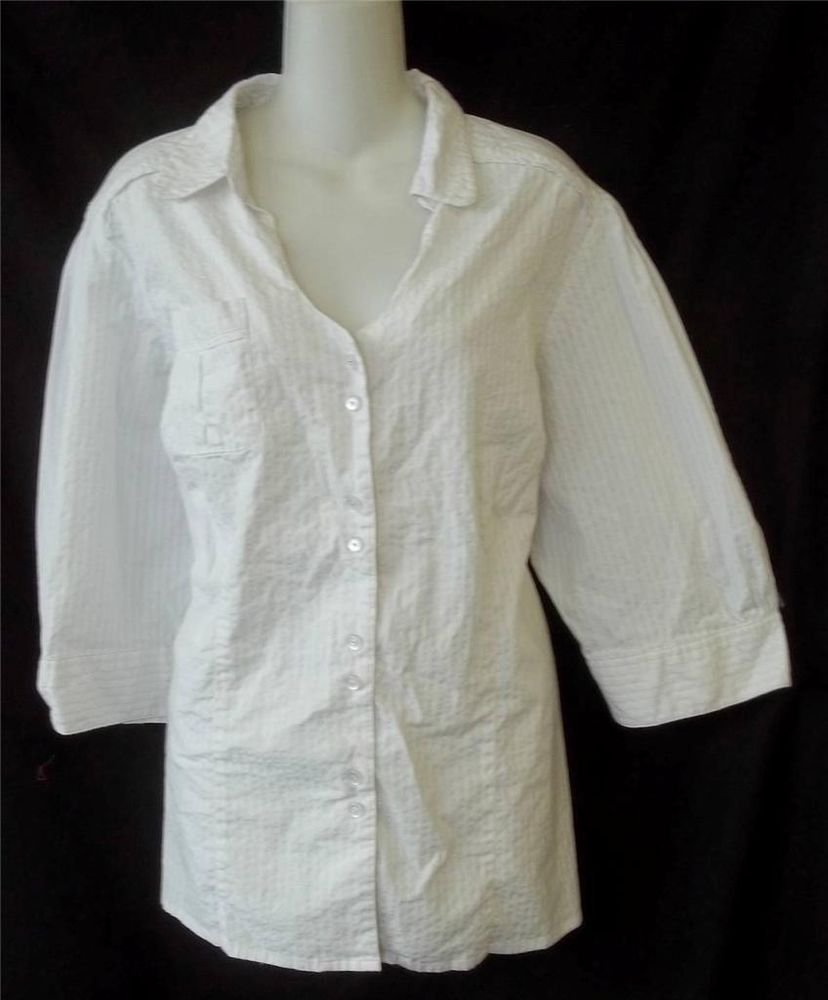 Quizz Woman Trends 3X 22W White Silver Pin Striped 3/4 Sleeves Career Blouse Top