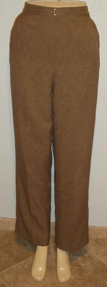 Alfred Dunner 10 M Medium Brown Elastic Back Stretch Waist Career Dress Pants