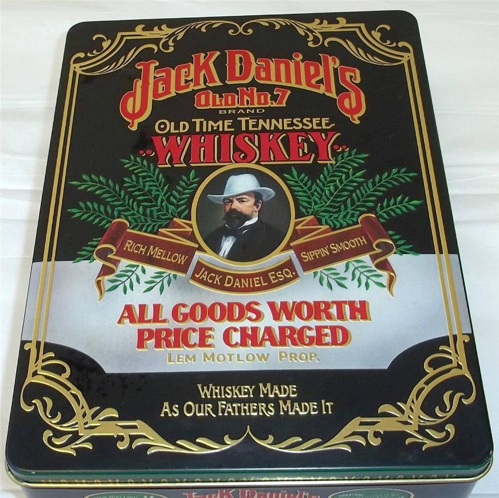 Jack Daniel's Old No. 7 Whiskey Gift Tin 4 color Black Background Gold Inside