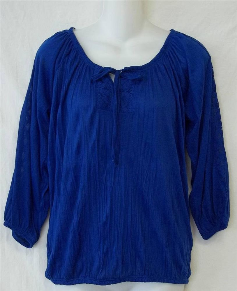 NEW Allison Brittney Small 4 6  Royal Blue 3/4 Sleeve Boho Peasant Soft Blouse