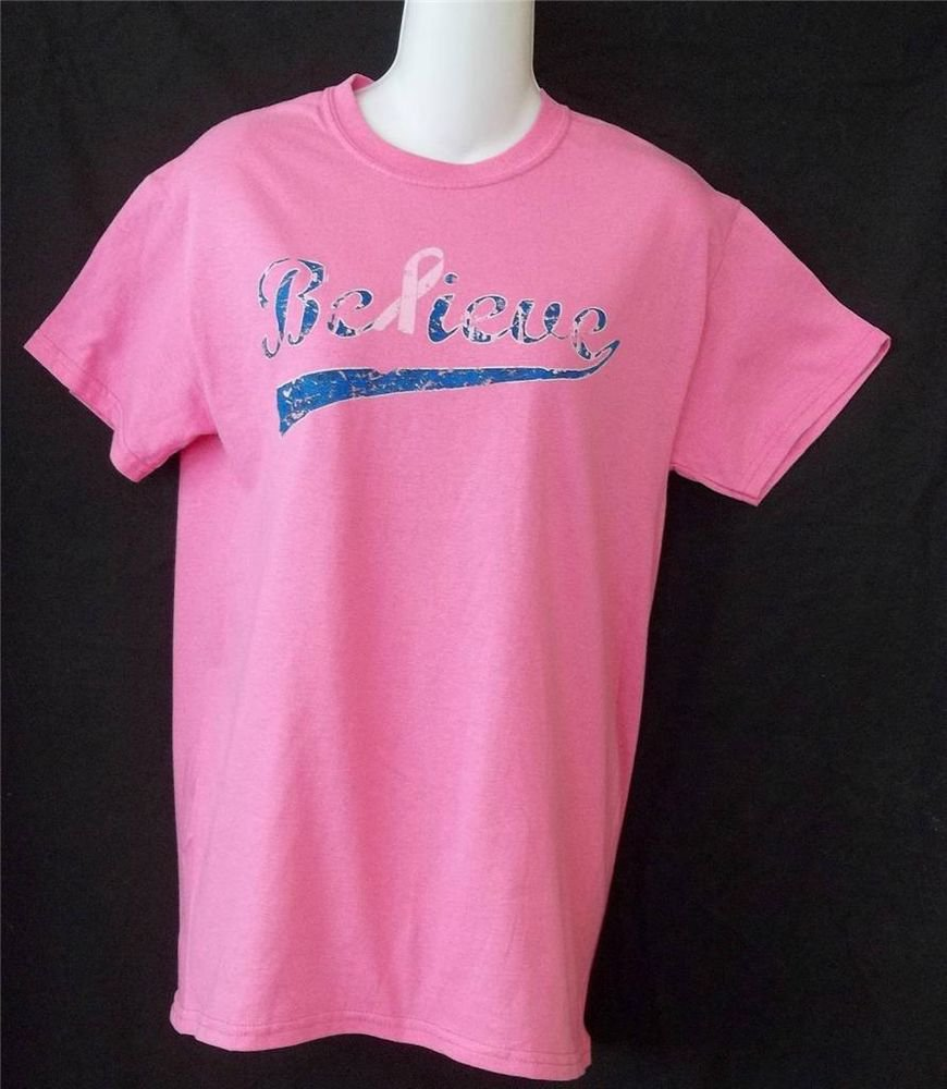 NEW Breast Cancer Hot Pink Believe Small 4 6 SS Gildan Heavy Cotton T Shirt