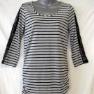 NEW French Laundry Small 4 6 Gray Black Striped 3/4 Sleeve Embellished Tunic Top