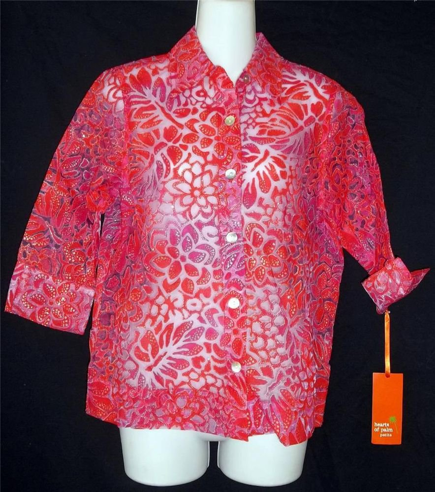 NEW Hearts of Palm Petite 8P Medium Red Purple Sheer 3/4 Sleeve Career Blouse