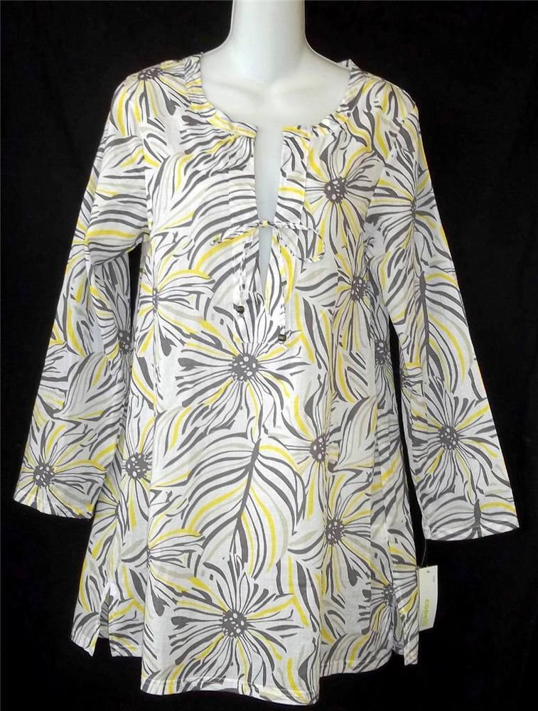 NEW Capelli NY Small 4 6 Whte Gray Yellow Lightweight Swimwear Cover Up Dress