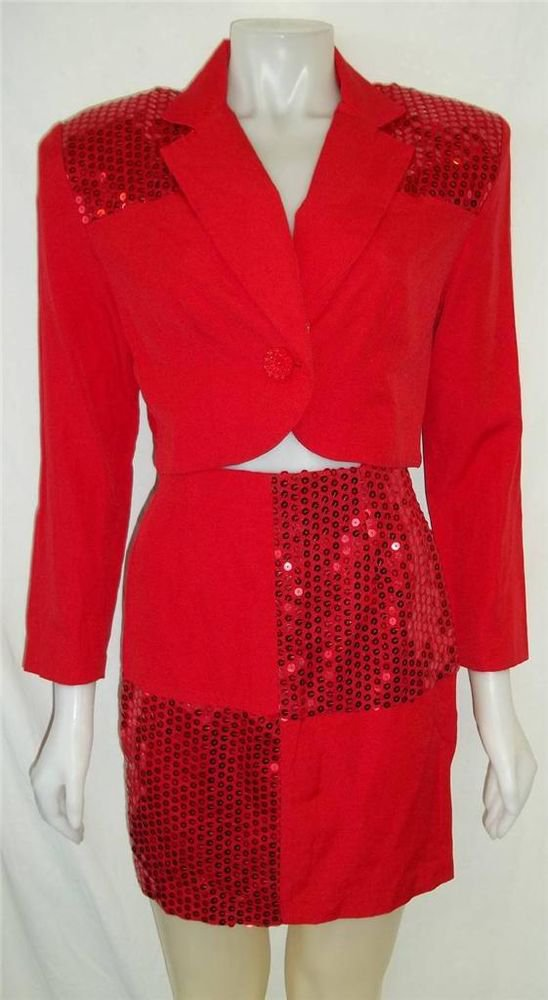 Addiction Junior 9 Medium Vintage '80s Red Sequin LS Jacket Mini Skirt 2 Pc Suit