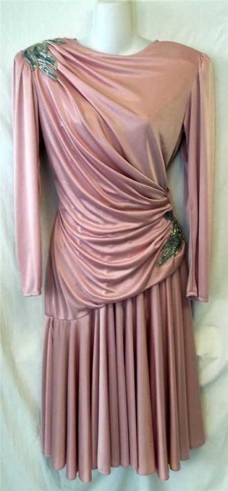 Vtg '80s Abbey Kent 6 Small Pink Rose Silver Sequins LS Midcalf Cocktail Dress
