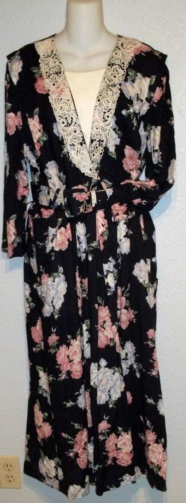 S.L. Fashions Vintage '70s Navy Blue Floral Print Cotton Dress Belt Medium 8 10