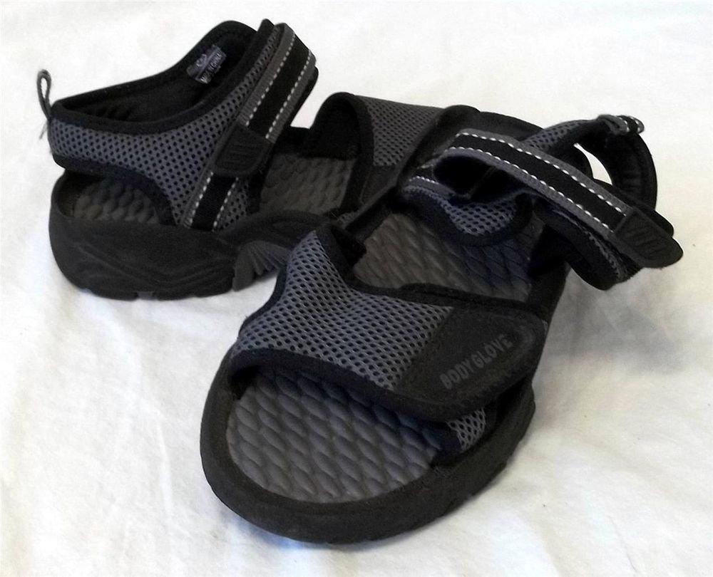 Body Glove Water Sandals Shoes Men's Sz 5 Gray Black Velcro Mesh Rubber Tread