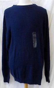 New Harbor Bay XLT 100% Cotton Men's Navy Blue Waffle Weave LS Casual Sweater