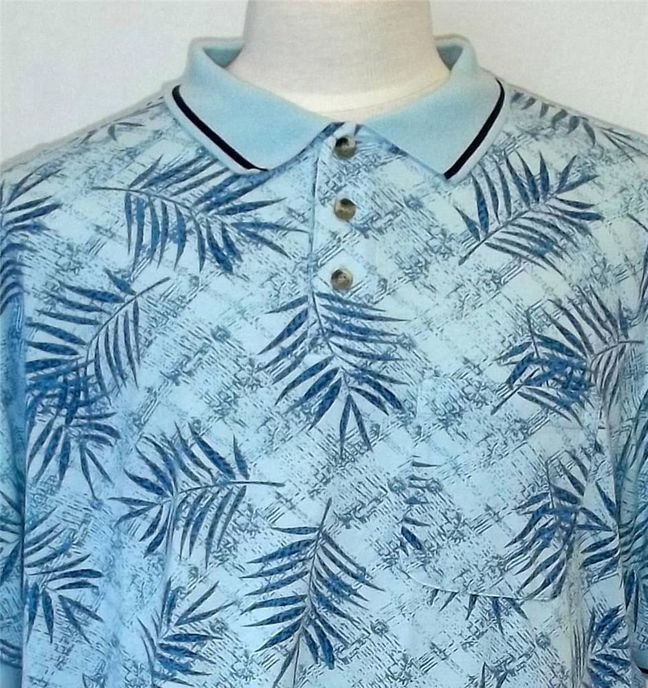 Island Blue XL Extra Large SS Pale Blue Tropical Men's Polo Golf Collared Shirt