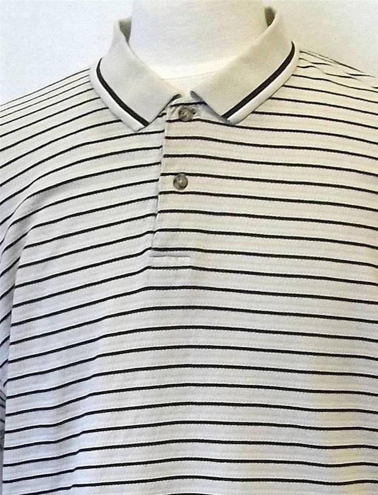 Bugle Boy XL Extra Large Beige Tan Striped SS Men's Polo Golf Collared Shirt