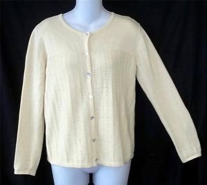 Tribeca Studio Small 4 6 Yellow LS Linen Cotton Knit Pattern Cardigan Sweater