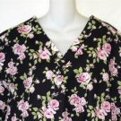 Rene Rofe Small 4 6  Medical Nurse Dental Vee Neck Scrub Top Black Pink Roses