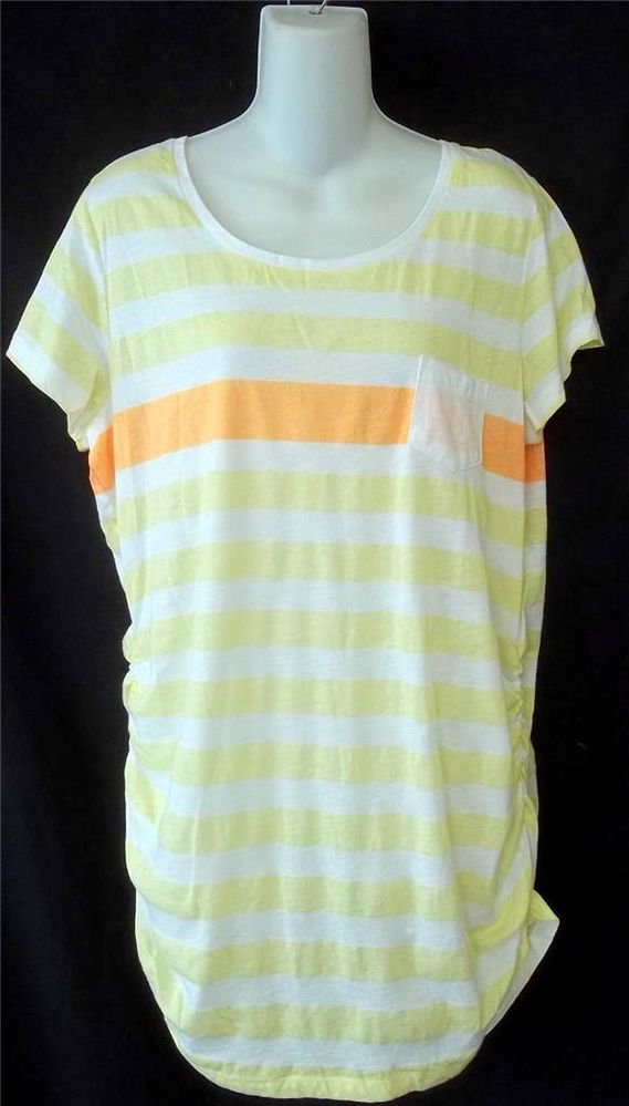 NEW Derek Heart Plus 1X 14W 16W White Yellow Orange Stripe Tunic Shirt Top