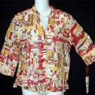 NEW Hearts of Palms 6 Small 8 Medium Orange Brown Sheer 3/4 Sleeve Career Blouse
