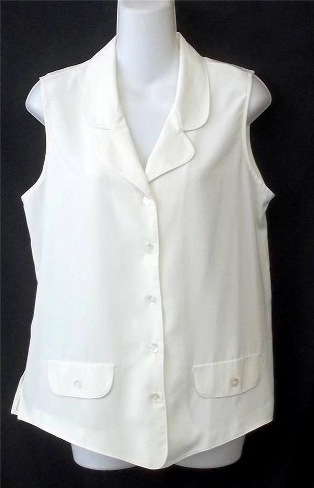 Maggie Sweet Medium 8 10 Off White Sleeveless Button Front Career Suit Blouse