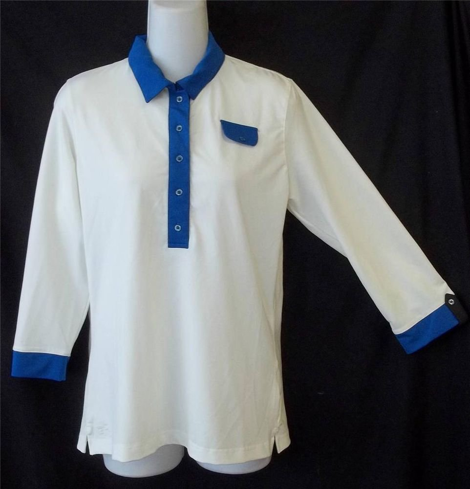 NEW Tehama Small 4 6 White Blue Trim Half Sleeve Golf Shirt Sports