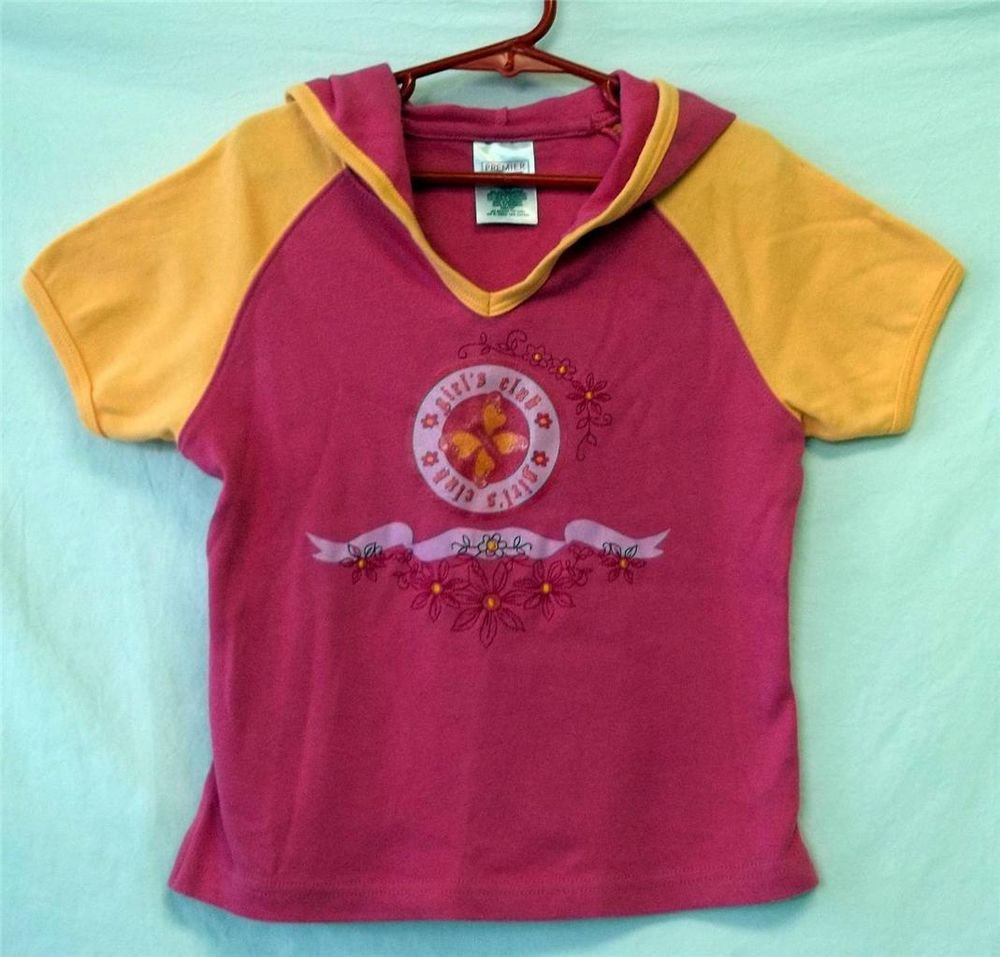 Premier Int'l. Girl's 10 12 Pink Yellow Hoodie SS Pullover Girl's Club Knit Top