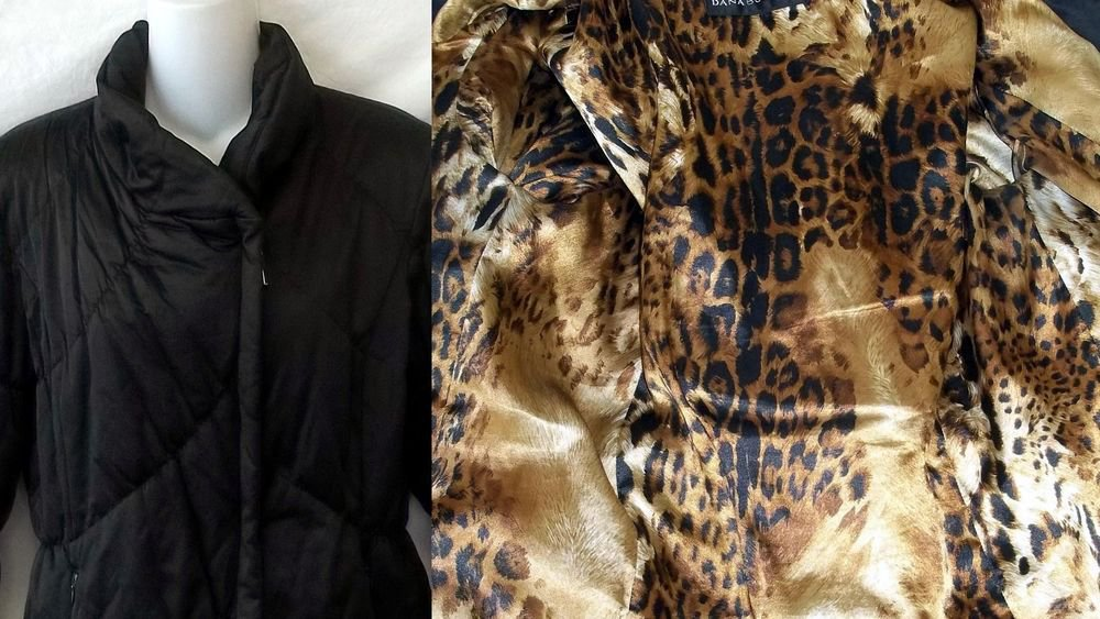 Dana Buchman Small 4 6 Black Long Sleeve Cheetah Lining Quilted Jacket Coat