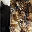 Dana Buchman Small 4 6 Black Long Sleeve Cheetah Lining Quilted Jacket Coat