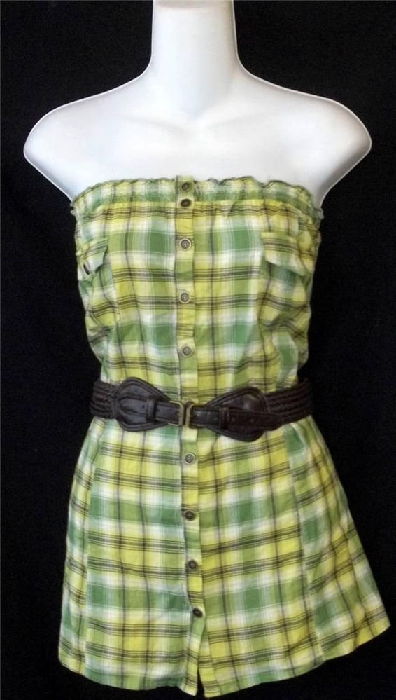 New FANG 2X 18W 20W 3X 22W 24W Green Plaid Strapless Cotton Belted Tunic Top