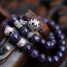 Fantasy hollow flower ball amethyst bracelet