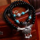 Tibetan silver longevity lock  spar poisonivy Lucky transport multilayer bracelet
