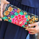 Exquisite hand-embroidered flowers fringed long Wallet