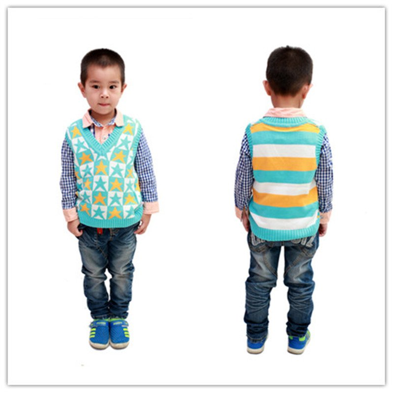 2014 five-pointed star style children cotton knit vest 1-4 years YF49