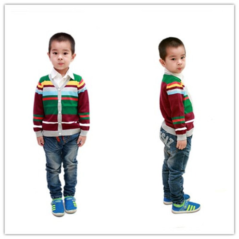 2014 striped style children cotton knit cardigan 3-6 years YF54