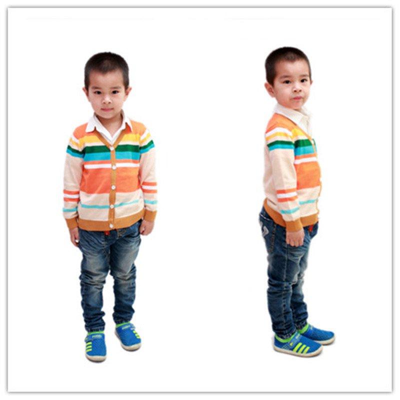 2014 striped style children cotton knit cardigan 3-6 years YF55