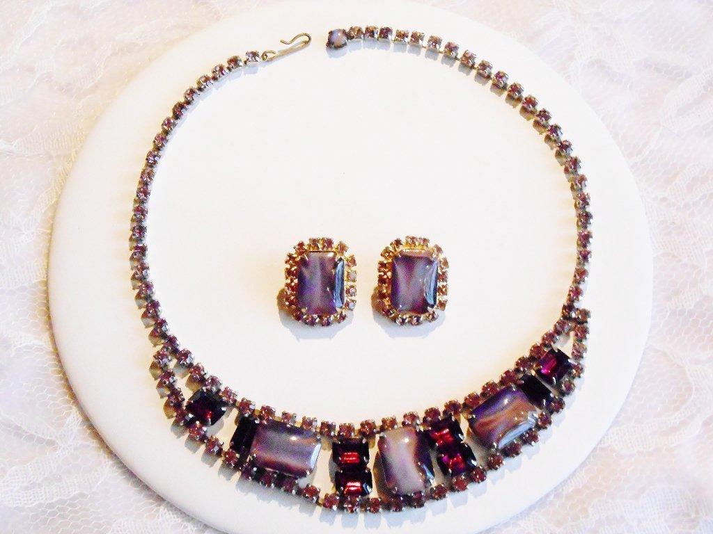 Purple Art Glass and Rhinestone Set