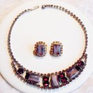 Purple Art Glass and Rhinestone Set