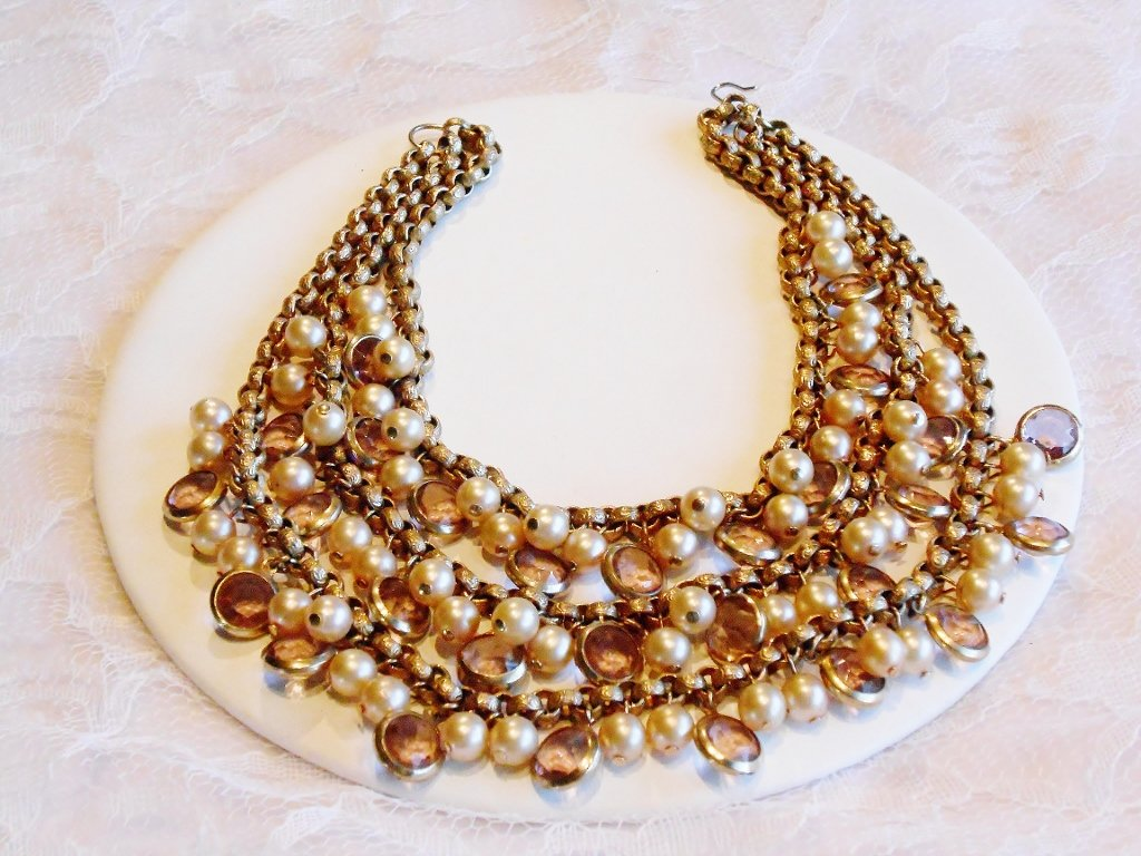 Three Strand Faux Pearl and Glass Necklace