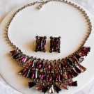 Royal Purple Bib Necklace and ER Set