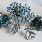Judy Lee Blue Abstract Brooch and ER Set