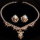 Milkglass and Rhinestone Set