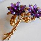 Old Purple Floral Brooch
