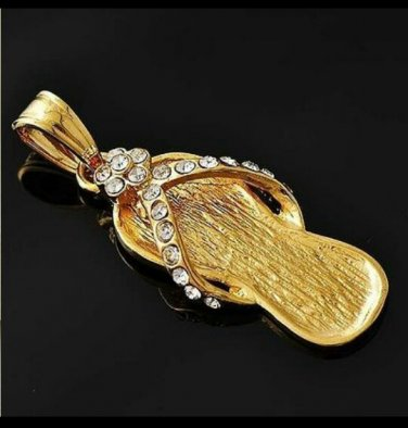 Golden Flip Flop + Necklace