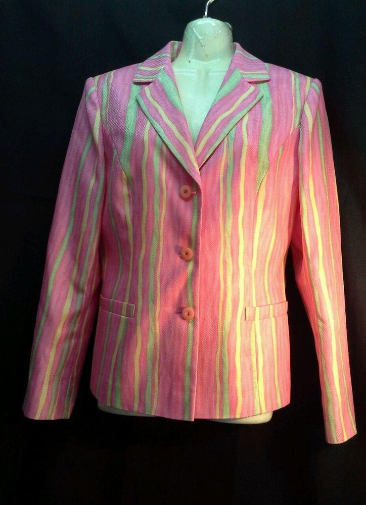 John meyer of Norwich size 6 pink stripe career blazer womens