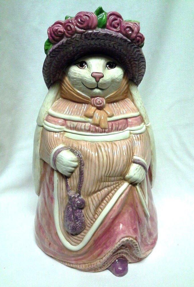 Handpainted Rabbit Ceramic Cookie Jar Kitchen Decor