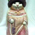 Handpainted Rabbit Ceramic Cookie Jar Kitchen Decor
