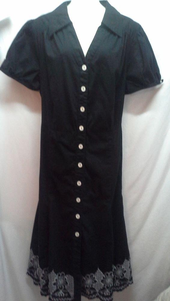 Womans Plus Dress 18 Black Lane Bryant Floral Embrodiery