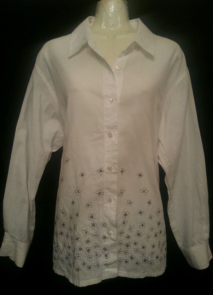 susan Bristol Large White Shirt Black Embrodiery Long sleeve