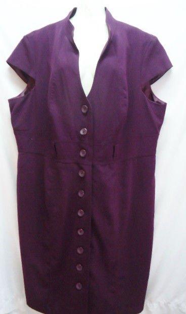 Sandra Darren Purple Cap Sleeve Woman Dress Size 22W Plum Fall Autumn Plus Size
