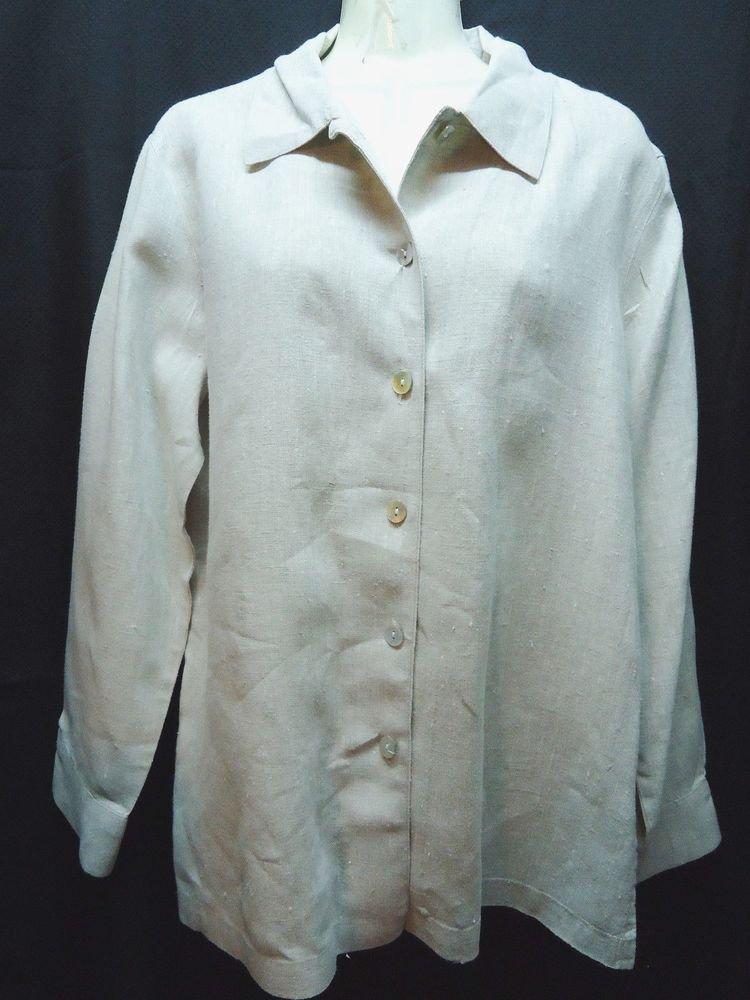 Chicos Linen To Sz 1 Button Down Shirt Tan Long Sleeve Small