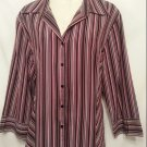 Fred David Xlarge Shirt Purple Stripe 3/4 quarter sleeve Womens