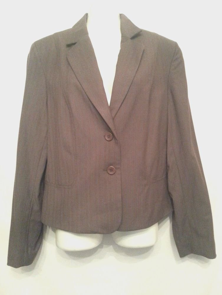 Jones Wear Blazer 12 Gray Teal Pinstripe career Womens