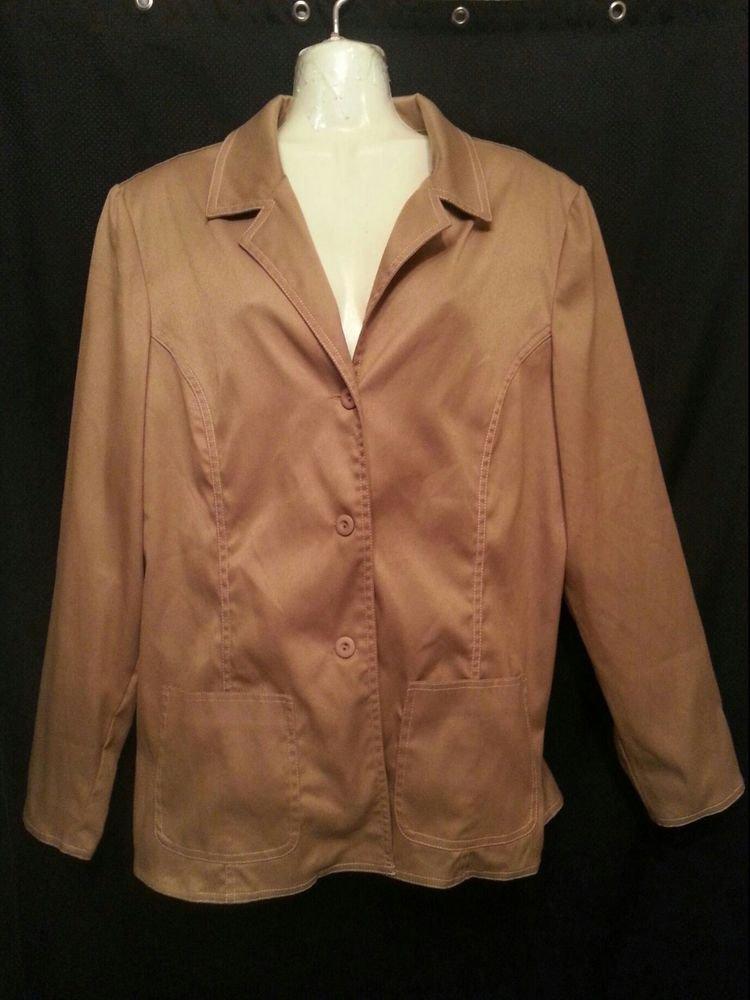 DIALOGUE Misses Tan Camel Jacket Blazer sz 14 Fall Autumn